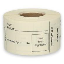 Daymark volledig oplosbare sticker Koeling 250 stuks op rol HACCP Productfoto