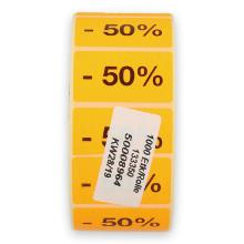 Etiketten 47x27 mm met tekst - 50% fluor oranje (1000 per rol) Productfoto
