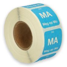 Daymark volledig oplosbare sticker Ma weg op Wo 500 stuks op rol HACCP Productfoto