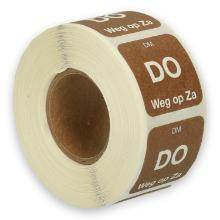Daymark volledig oplosbare sticker Do weg op Za 500 stuks op rol HACCP Productfoto
