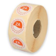 Daymark afwasbare sticker Za zonder weg op 24 uur 500 stuks op rol HACCP Productfoto