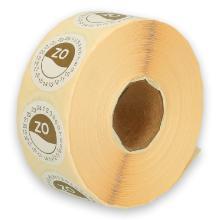 Daymark afwasbare sticker Zo zonder weg op 24 uur 500 stuks op rol HACCP Productfoto