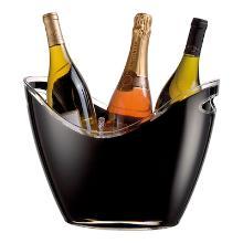Wijnkoeler Gondola zwart met transp. rand tbv 3 flessen Productfoto