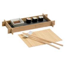 Houten sushi set voor 1 persoon inclusief placemat Productfoto