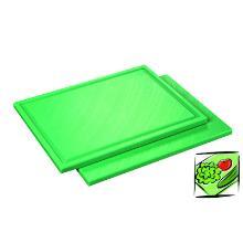 Kunststof snijplank met sapgoot 32.5x26.5x1.5 cm groen Productfoto
