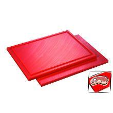 Kunststof snijplank met sapgoot 53x32.5x1.5 cm rood Productfoto