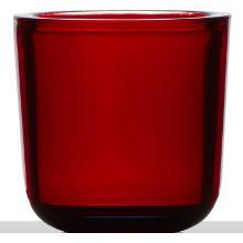 Cooper kaarshouder glas 7.5x7.5 cm rood Productfoto