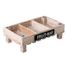 Stapelkrat 3-vaks met krijtbord 50x30x15cm mango hout Productfoto