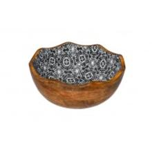 Houten kom ø 30x11 cm 3L zwarte bloem dessin Productfoto