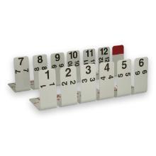 Aluminium houder voor tijdkaart nr 1-12 + houder rood vlak (per 8 stuks verpakt) Productfoto