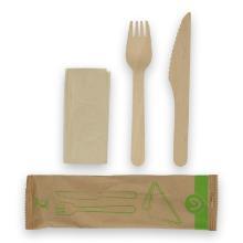 Verive waxed houten bestekset 3/1 vork/mes/servet bruin Productfoto
