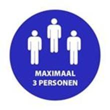 """Aanduidingssticker """"Maximaal 3 personen"""" ø 90 mm blauw Productfoto"""
