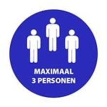 """Aanduidingssticker """"Maximaal 3 personen"""" ø 200 mm blauw Productfoto"""