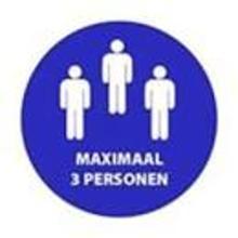 """Aanduidingssticker """"Maximaal 3 personen"""" ø 200 mm blauw DE Productfoto"""