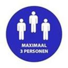 "Aanduidingssticker ""Maximaal 3 personen"" ø 200 mm blauw ENG Productfoto"