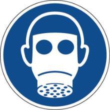 Bord met ademhalingsbescherming verplicht pictogram 10 cm zelfklevend Productfoto