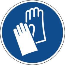 Bord met veiligheidshandschoenen verplicht pictogram 30 cm zelfklevend Productfoto