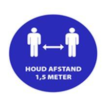 """Aanduidingssticker """"1.5 meter afstand"""" ø 200 mm blauw Productfoto"""