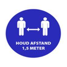 """Aanduidingssticker """"1.5 meter afstand"""" ø 200 mm blauw ENG Productfoto"""