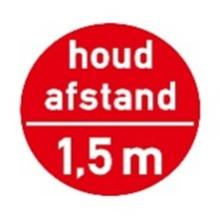 "Vloersticker ""Houd afstand - 1.5 m"" ø 322 mm rood antislip Productfoto"