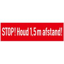 "Vloersticker ""STOP! Houd 1.5 m afstand!"" 500x100 mm rood antislip Productfoto"