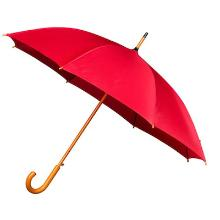 Paraplu met houten handgreep 102cm rood Productfoto
