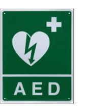 """Bordje met tekst """"AED"""" ERC Productfoto"""
