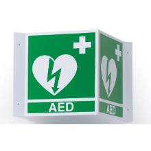 "Bordje met tekst ""AED"" 3 dimensionaal ERC Productfoto"