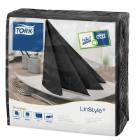 Tork Linstyle Dinner servet 39x39cm 1-laags 1/4vouw zwart Productfoto