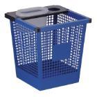 Vierkant taps toelopende geperforeerde papierbak 27L blauw Productfoto