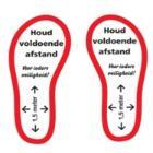 """Vloersticker set van één paar voeten """"Houd voldoende afstand"""" Productfoto"""