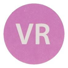 Etiket 19mm rond haccp vrijdag paars wik 2b rol a 500 Productfoto