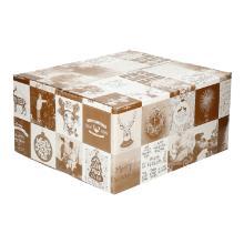 Kerstdoos golfkarton B golf 3 mm bruin B 350 x 300 x 165 mm dessin brown Productfoto