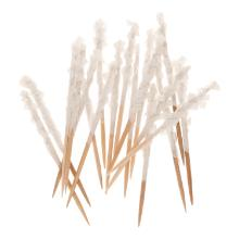Houten prikker 6,8 cm met witte papieren frills Productfoto