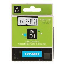 Dymotape plastic 12 mm zwart/wit d1 45013 Productfoto