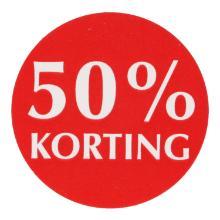 Etiket papier rood/wit 3,5 cm rond 50% korting Productfoto