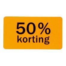 Etiket papier fluor oranje 4,7 x 2,5 cm 50% korting Productfoto