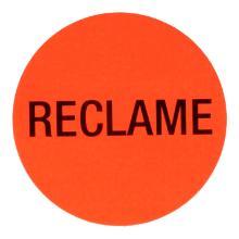 Etiket papier fluor rood rond 3,5 cm reclame in dispenserdoos Productfoto