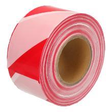 Afzetlint LDPE rood/wit diagonaal 7,5 cm x 500 mtr Productfoto