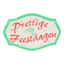 Wensetiket Prettige feestdagen papier groen/rood 5,1 x 3,3 cm in dispenserdoos Productfoto