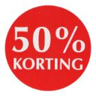 Etiket papier rood/wit 3,5 cm rond 50% korting  Productfoto