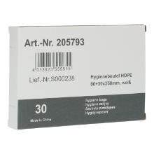 HDPE Hygienebeutel 80x30x250mm weiss 14my PrimeSource Produktbild