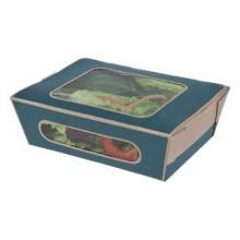 Salat- Box 160 x 120 x 50 mm, 825 ml mit Fenster blau -Café Today- Tuck-top Produktbild