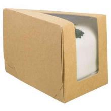 Tortenverpackung 144x85x90mm braun mit Sichtfenster PLA -Grosses Tortenstueck- Produktbild