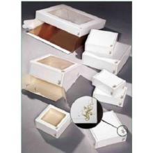 Tortenkarton mit Fenster 230 mm x 230 mm x 80 mm Design 573 weiß/gold Produktbild