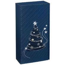 Präsentkarton 36 cm x 19,2 cm x 9,5 cm saphir Lichterglanz für 2 Flaschen 0,75L Produktbild