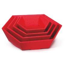 Präsentkorb 6-eckig 20,2 cm x 19,5 cm x 5,2 cm / 9,2 cm rot Picknick klein Produktbild