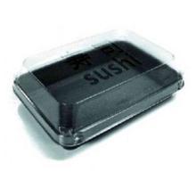 SushiBox PS 190 mm x 130 mm x 50 mm 400 ml ungeteilt schwarz mit Deckel Produktbild
