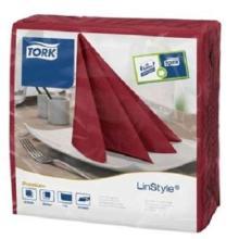 Serviette LinStyle 39 cm x 39 cm 1/4 Falz bordeaux 478855 Tork Produktbild