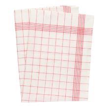 Geschirrtuch 50 cm x 70 cm rot/weiß HLeinen Produktbild